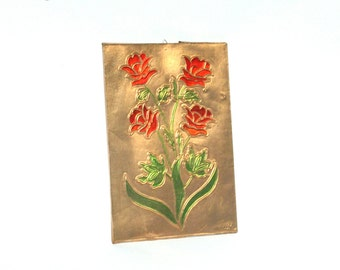 Retro Copper Wall Decor, Copper Wall Art, Copper Wall Hanging, Floral Copper Repousse, Copper Art, Repoussed Copper, Greek Art, Embossed Art