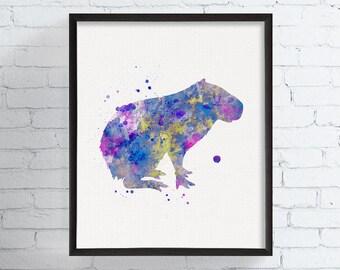 Watercolor Capybara Art, Capybara Print, Capybara Painting, Capybara Wall Art, Animal Print, Animal Painting, Watercolor Animal, Framed Art