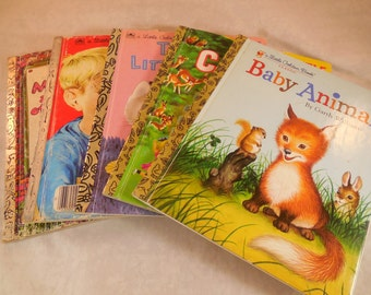 Set of five vintage Little Golden books from the 60s and 70s, some have been in print before that.