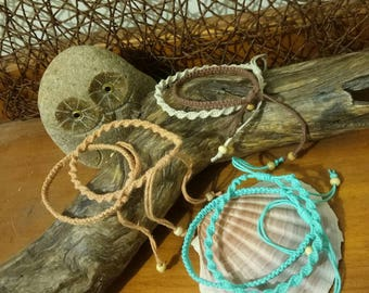 Matching set of two Handmade Hemp Friendship Bracelets/Anklets