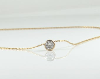 Gold cubic zircon necklace , gold filled CZ necklace , diamond necklace , delicate gold zircon necklace , dainty cz gold filled necklace