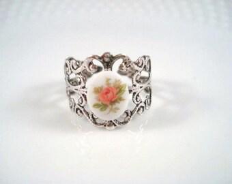 Pink Rose Silver Ring Adjustable