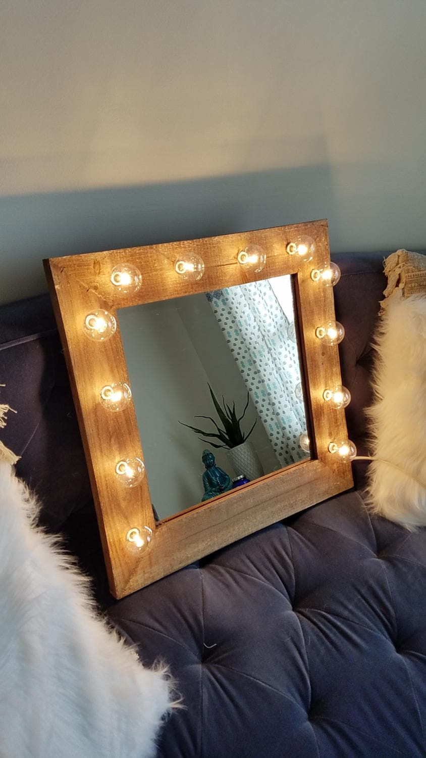 Rustic Vanity Mirror With Lights : Rustic Wood Farmhouse Vanity Light Up Mirror Lights Make Up