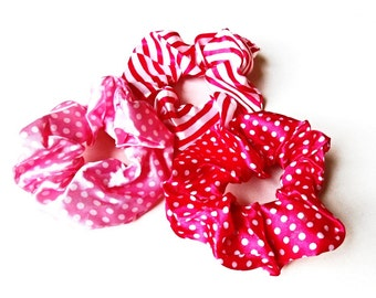 Hair Scrunchies 3 pieces Set Pink Rose Fuchsia Satin Silk Polka Dots Ponytail Holder Pink White Stripe Pony Tail Wrap Hair Ties Gift Girl