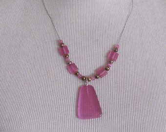 """Necklace Beautiful Unique Wired Beaded Necklace Pink Pendant 18"""" (46A) - Affordable Jewelry!!!"""