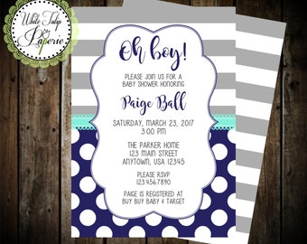 Navy and Gray Baby Shower Invitation, Boy Baby Shower Invitation, Stripe and Polka Dot Baby Shower Invitation, Gray and Blue Invitation