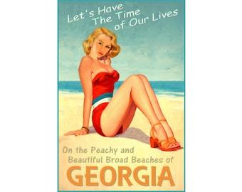 Georgia Beach Beauty Pin Up Poster Peach State Atlantic Coast Shore Ocean Art Print 296