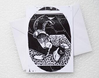 Card Lino Print / Daschund A6