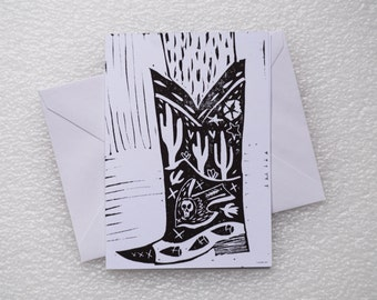 Card Lino Print / Cowboy Boot A6