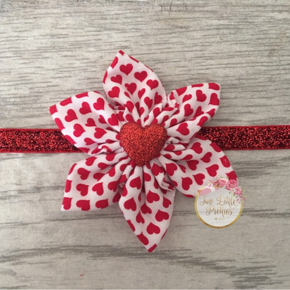 Large tiny red hearts fabric flower headband | baby girl | hand sewn
