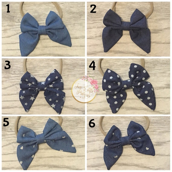 Denim fabric bow headband | baby girl | handmade