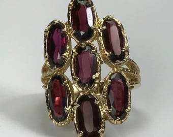 Vintage Garnet Cluster Ring. 14k Yellow Gold. Hattie Carnegie Statement Ring. Unique Engagement Ring. January Birthstone. 2nd Anniversary.