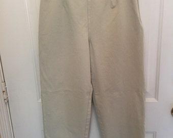 Women's LL Bean beige ankle pants with side zipper size 12R