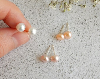 Freshwater pearl stud earrings | natural colour pearls on 925 sterling silver