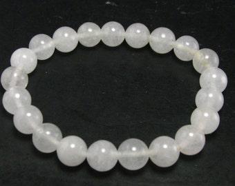 "Genuine Azeztulite Bracelet From North Carolina - 7"" - 8mm Round Beads"