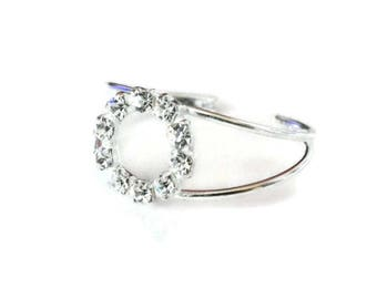 Sterling Silver Toe Ring with Crystal Glass Circle - 925 Crystal Glass Silver Toe Ring