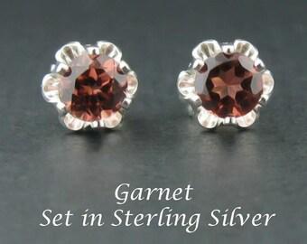 Garnet Earrings in 4mm Buttercup Settings Sterling Silver