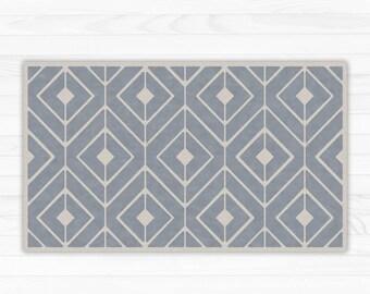 Grey linoleum rug, modern geometric area rug. Vinyl Art Mat for indoor and outdoor use. PVC doormat, kitchen rug.