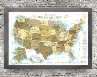 USA Map National ParksSlate Edition Framed Pin MapReady - Map of all national parks us and canada