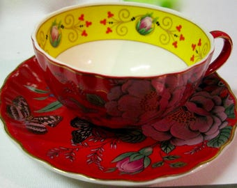 Chinoiserie Teacup Teaset Tea Cup Tea Set Saucer Duo Stunning! Bold Oriental Design Yellow Red Butterfly
