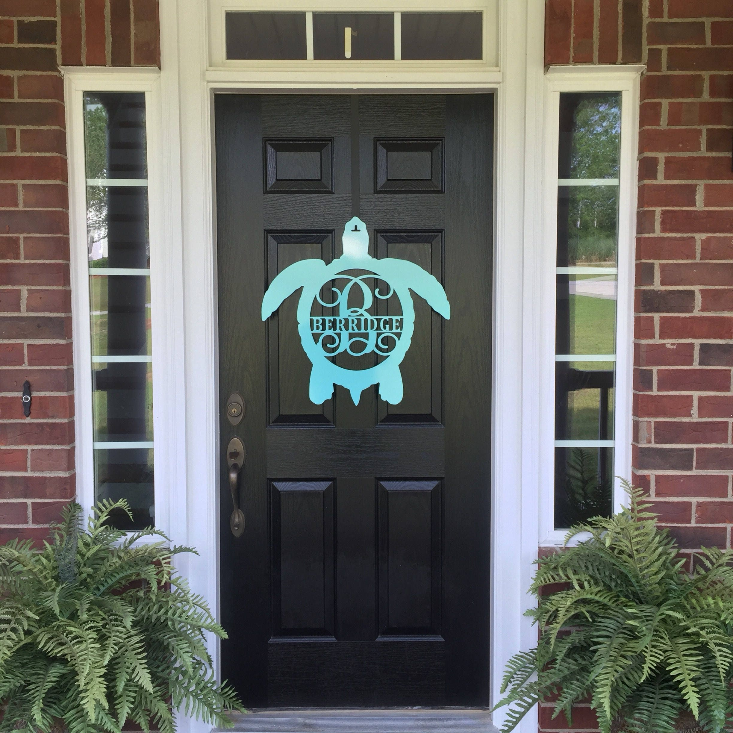Monogram Front Door Decoration: Metal Turtle Front Door Wreath/Monogram Door Hanger/Beach