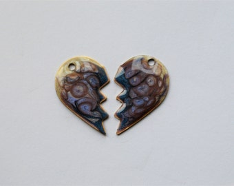 Brass  Painted  Broken Heart Earring Charms,Painted  Components ,Brass Beads ,Handmade,Navy Lilac White