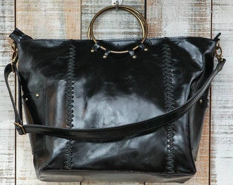 Black leather bag, Zipper leather tote, plus size leather bag, crossbody bag woman, top handle purse, convertible leather bag