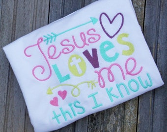 Embroidered Jesus Loves Me t-shirt, little girls t-shirt, Custom embroidered t-shirt, Jesus loves me