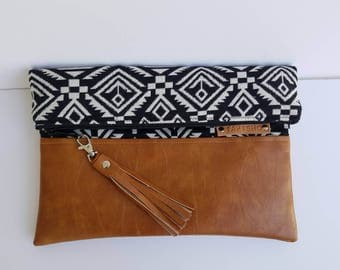 Upholstery Aztec Foldover Bag/Vegan Leather Foldover Purse/Faux Leather Fold Over Clutch Bag/Women Foldover Clutch Bag/Crossbody Vegan Purse