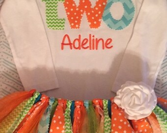 Orange, Lime, and Turquoise Birthday Tutu Outfit With Name Embroidery