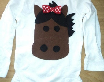 Girly Horse Cowgirl Shirt or Baby Bodysuit