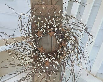 Primitive Country Decor.  Country Porch Decor.  Rustic Decor for Your Country Home. Rustic SHUTTER With Birch WREATH for Your Country Home.