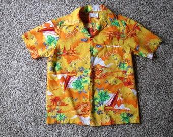 Vintage Men's Hawaiian Button Front Shirt Bright Orange Oahu Sailboats Size M