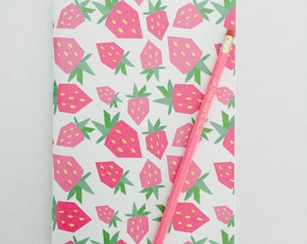Notebook and Pencil - SWEET STRAWBERRIES