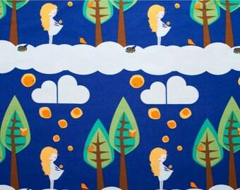 "SALE Lillestoff Organic Jersey Cotton 59"" x 20"" (150 cm x 50 cm) GOTS Certified Organic Knit Fabric Girl with Lights"