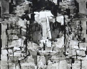 "Ink Art Drawing, Original, Handmade Vertical Abstract Art, Contemporary, Home Wall Art 40""x28"", Modern Art Drawing, Black and White Art"