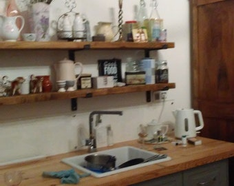 Farmhouse Country Shelf Shelving with Handmade Solid Steel (8mm) Brackets