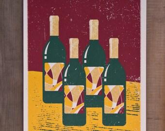 Wine Bottles / Handmade Screen Print Poster