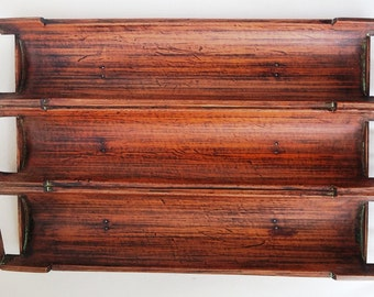 Hand made oriental ancient bamboo for three-compartment serving tray/plate