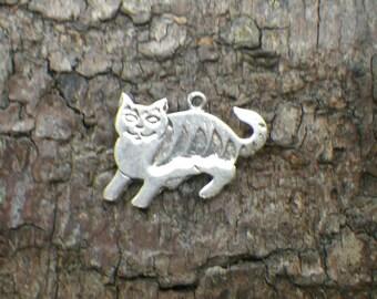 Vintage Sterling Silver Cat Charm Pendant