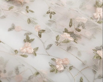1 yard Lace Fabric Ivory Tulle Champagne Floral Embroidery Wedding Dress 51 inch width