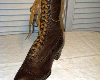 Single Edwardian high top shoe.  Unworn. Excellent condition.  Great collector piece.