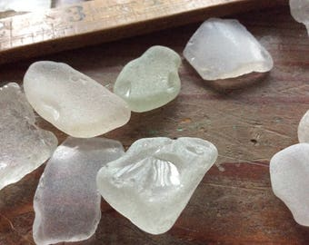 Genuine Sea Glass - 12  pieces (Beach Glass) in frosted white, from a Victoria BC West Coast Canadian Beach. .75 to approx 2 inch pieces.