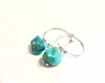 Baby Wise Owl Turquoise rock hoop earring