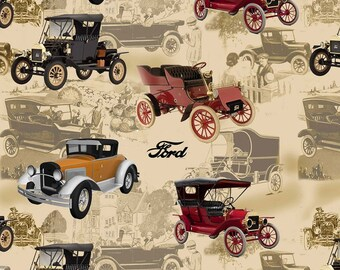 """Model T Ford Fabric 100% Cotton 44"""" Wide BTY By The Yard"""