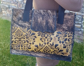 Gorgeous Leather Embossed Brindle Western Cowhide X Large Diaper Bag Purse Tote