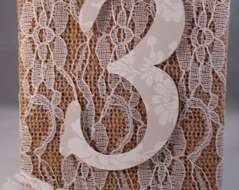 Burlap and Lace Wedding Table Numbers