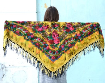 Handmade scarf, Chenille wrap, triangle scarf, Ukrainian shawl, Russian Scarf, Slavic floral, chale russe, Colorful Scarf,