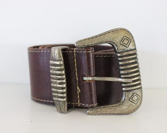 real leather genuine vintage womens belt boho bohemian hippie ethnic choc brown