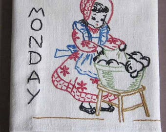 1950's Display Sample Embroidered Monday Linen Kitchen Towel with Red, Green, Blue and Yellow Stripes on the Sides Laundry Washing